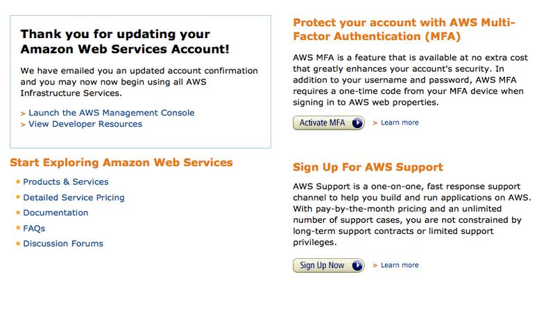 Amazon EC2會員註冊完成